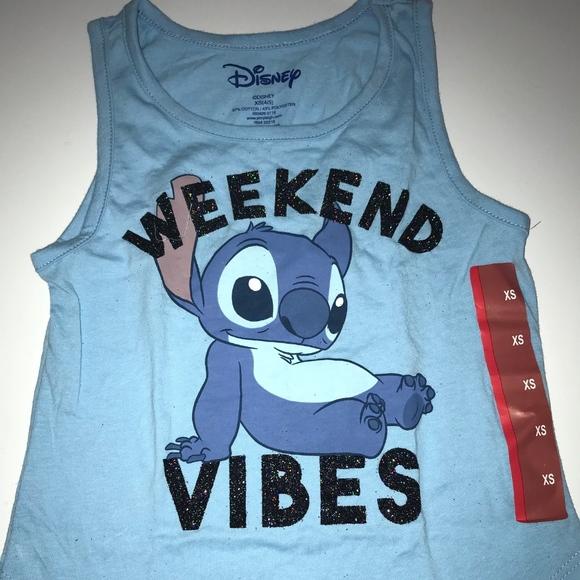 48762df8ff0e Disney Shirts & Tops | Stitch Glitter Graphic Tank Top Weekend Vibes ...